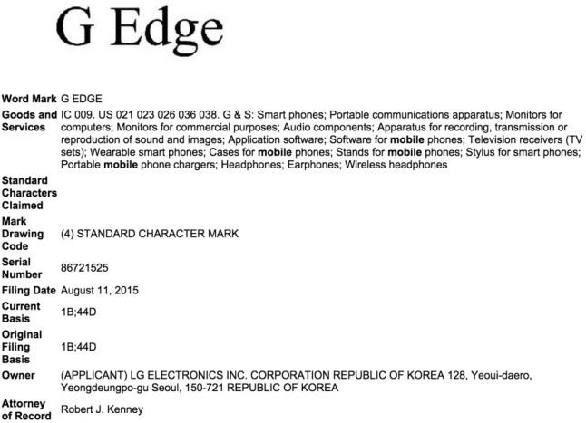LG G Edge Markenrecht