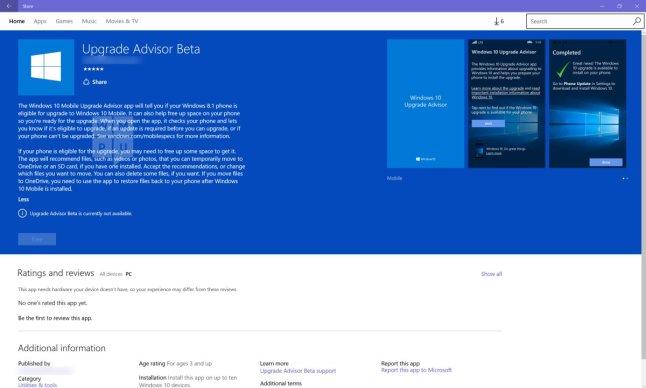 Windows 10 Mobile Upgrade Advisor Leak