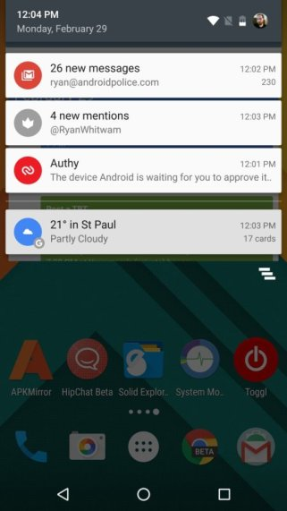 Android N mit neuer Optik