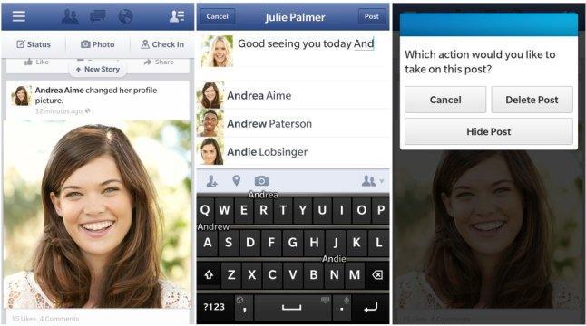 Facebook-App für BlackBerry OS 10