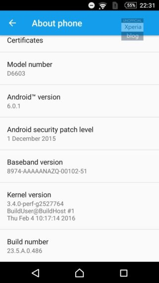 Sony Xperia Z3 Marshmallow Beta