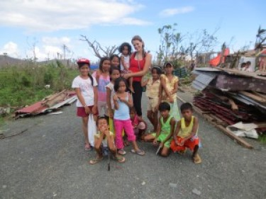 Elsa with Children from the Village of Cangumbang
