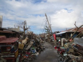 A street that was left impassable for over a week due to immense debris