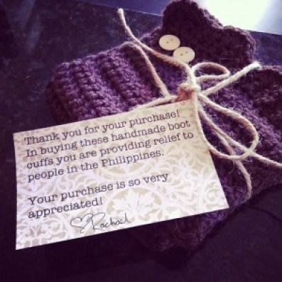 Rachael's beautifully made boot cuffs with a personal note to donors.