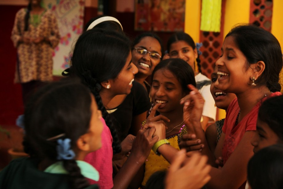 Indian girls laughing together