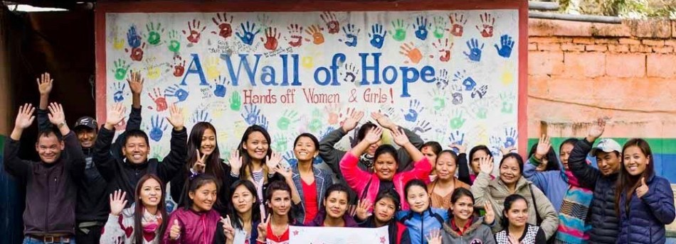 Children at The Small World Wall of Hope