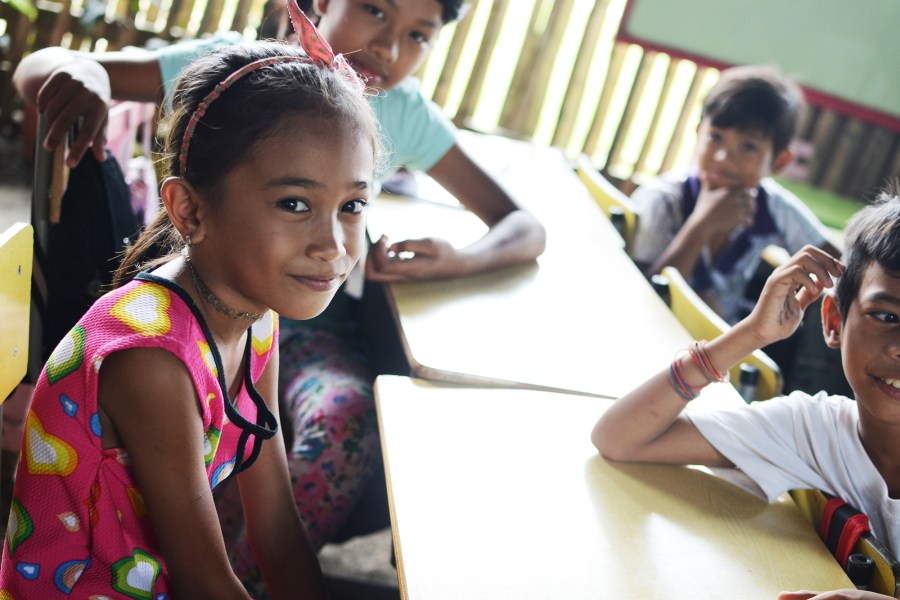 young girl at an elementary school in the philippines
