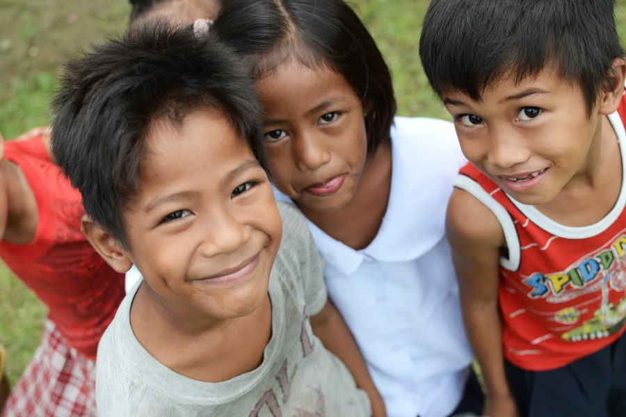 students in a rural village in the Philippines