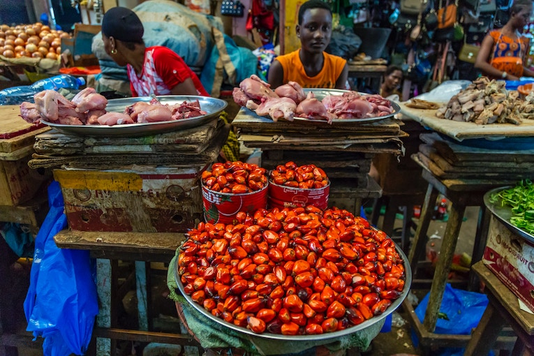 Food in a market in Ivory Coast