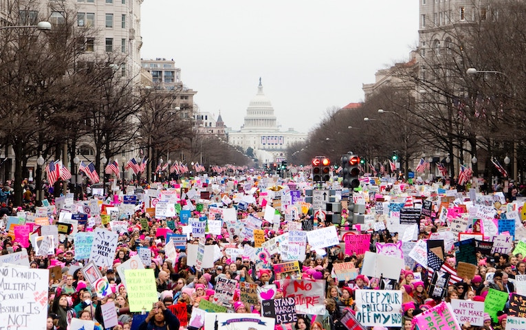 crowd at the women's march