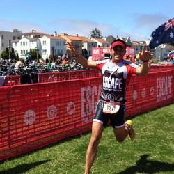 Michael Masangkay Running in the 2015 Escape from Alcatraz Triathlon