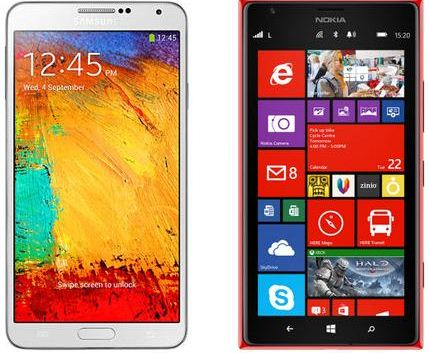 lumia 1520 vs galaxy note 3 design