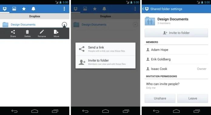 dropbox mobile sharing