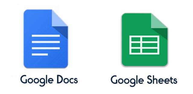 google docs and google sheets
