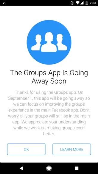 facebook groups app shutdown