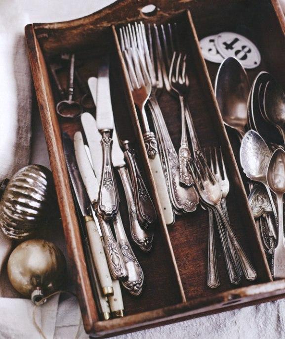 Mismatched antique silver