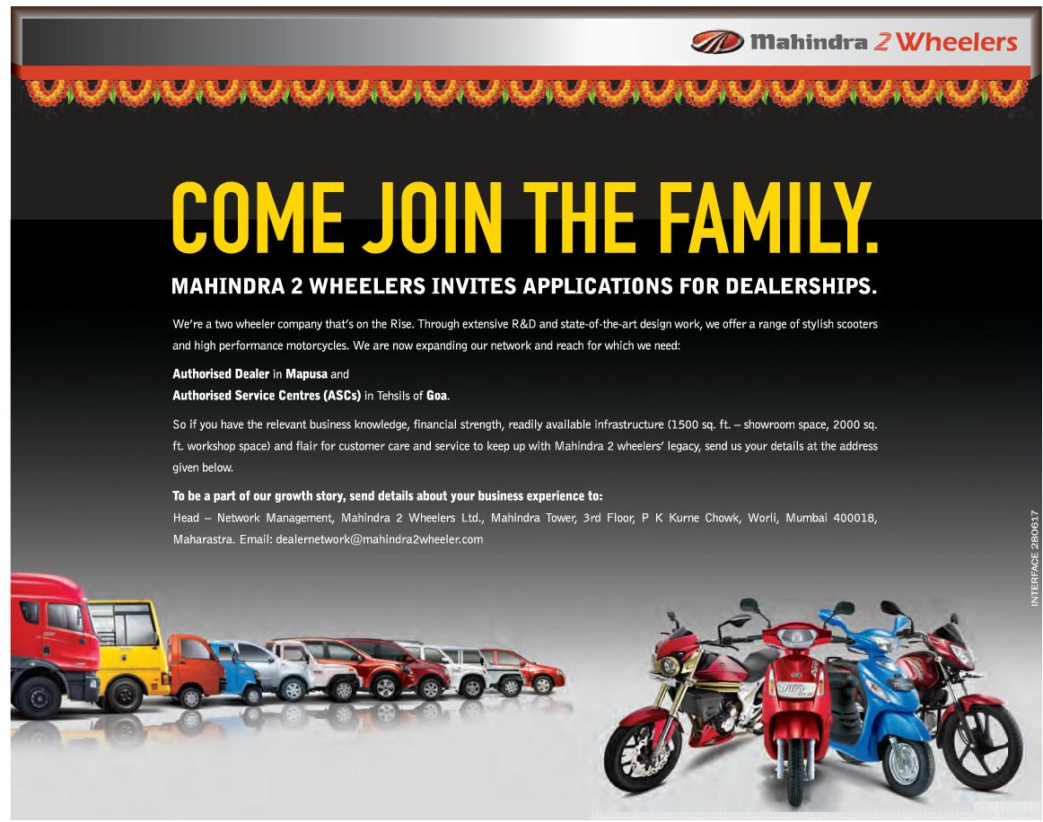 Mahindra plans to open new Two-wheeler dealerships, invites applications