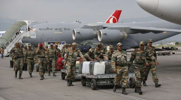 Indian Rescue Team on its way to Nepal earthquake affected areas.