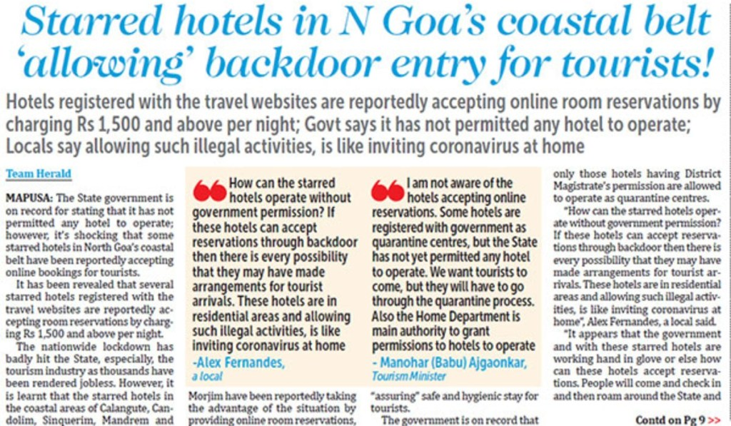 Hotels accepting bookings in Goa