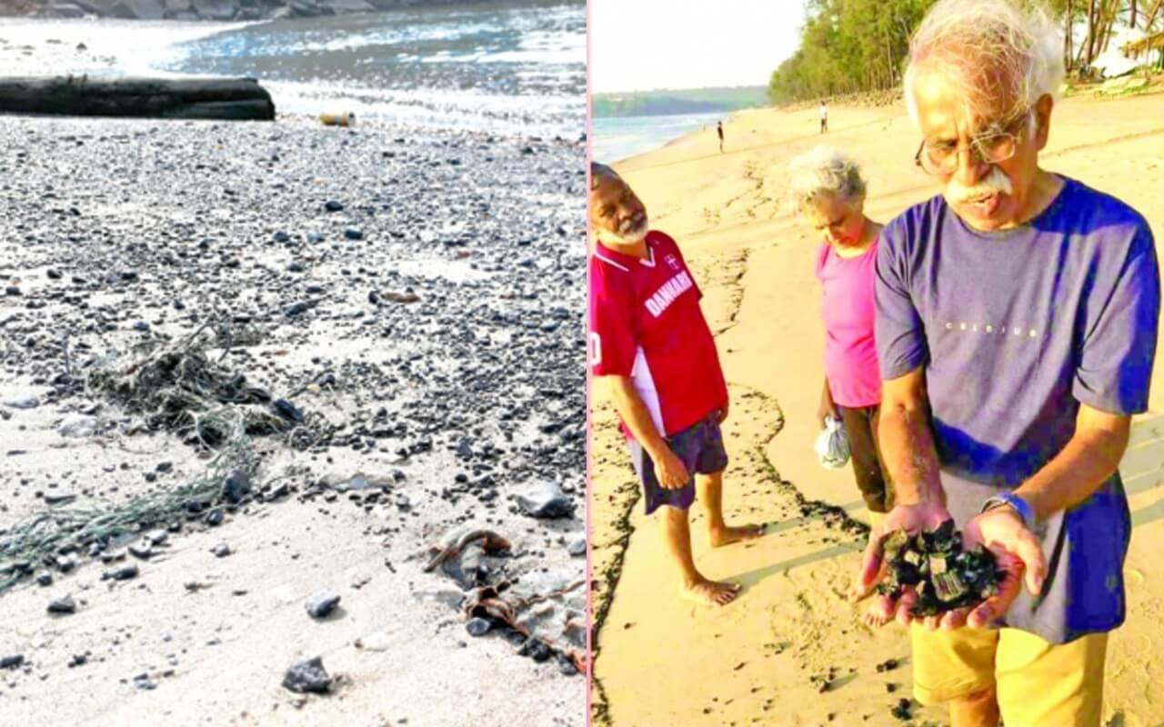 Coal Washed Ashore on Keri Beach