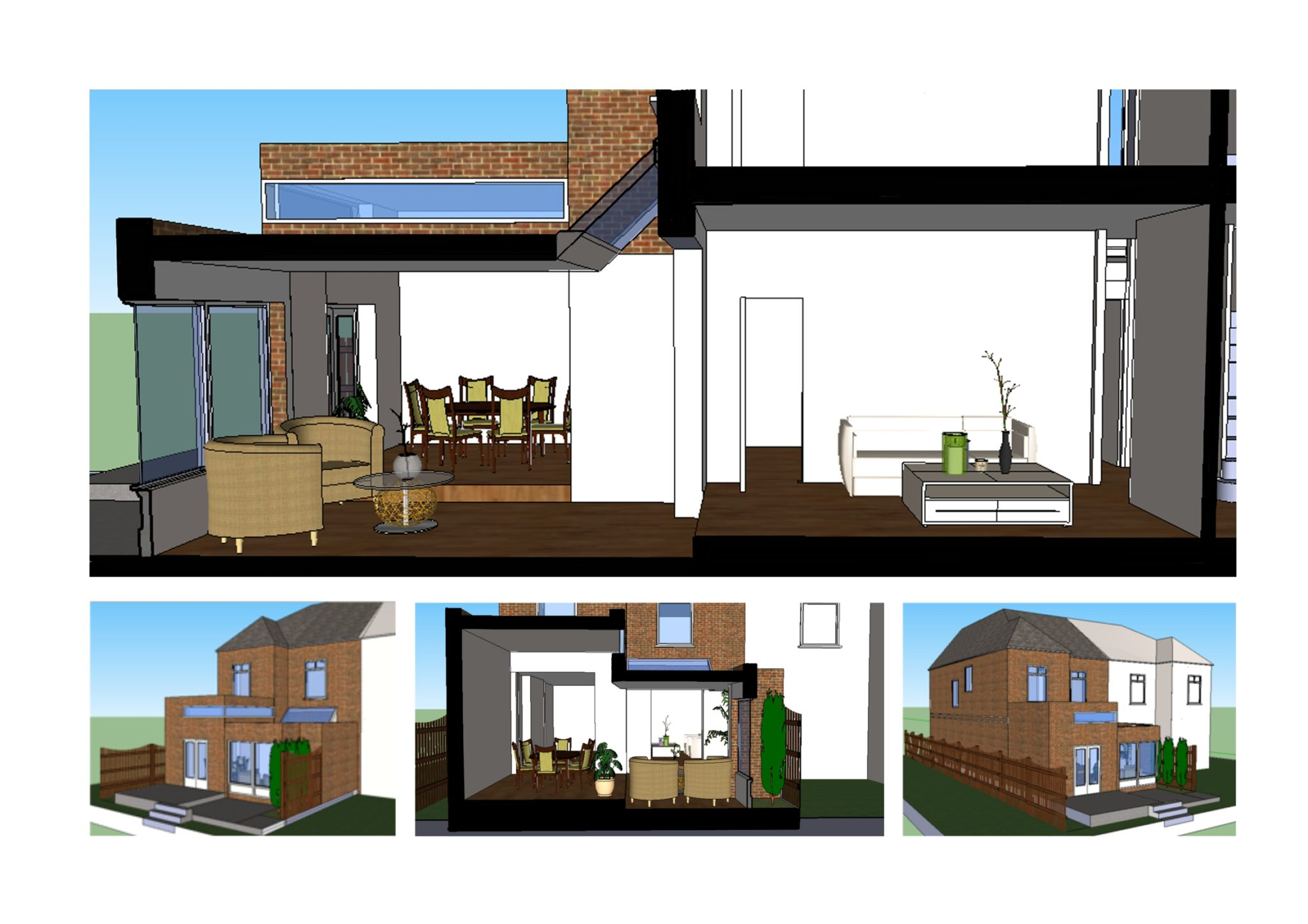 Grove Park Lewisham Se12 House Rear Extension Design 3d Images