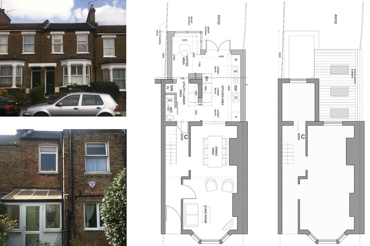 Architect Designed Rear House Extension Finchley Central Barnet N3 Floor  Plans