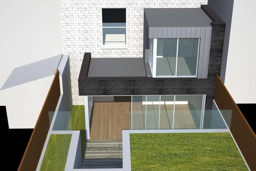 Architect designed two storey house extension Brockley Lewisham SE4 – Design rear elevation 3D 1200x800 Brockley, Lewisham SE4 | Two storey house extension