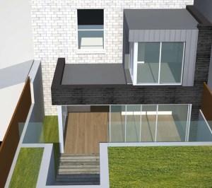 Architect designed two storey house extension Brockley Lewisham SE4 – Design rear elevation 3D 300x266 Brockley, Lewisham SE4 | Two storey house extension
