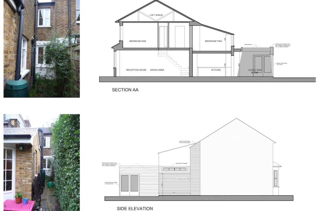 02 St Margarets Richmond TW1 Rear house extension Section and elevation 1200x800 St Margarets II, Richmond TW1   House extension