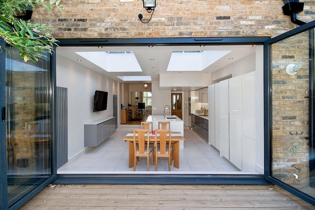 Architect designed Putney Wandsworth SW6 kitchen house extension View from the garden 1 Rear Extensions in London | Home Design | GOA Studio