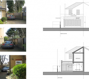 Architect designed house extension Brockley Lewisham SE4 Design section and rear elevation 300x266 Brockley, Lewisham SE4 | House extension