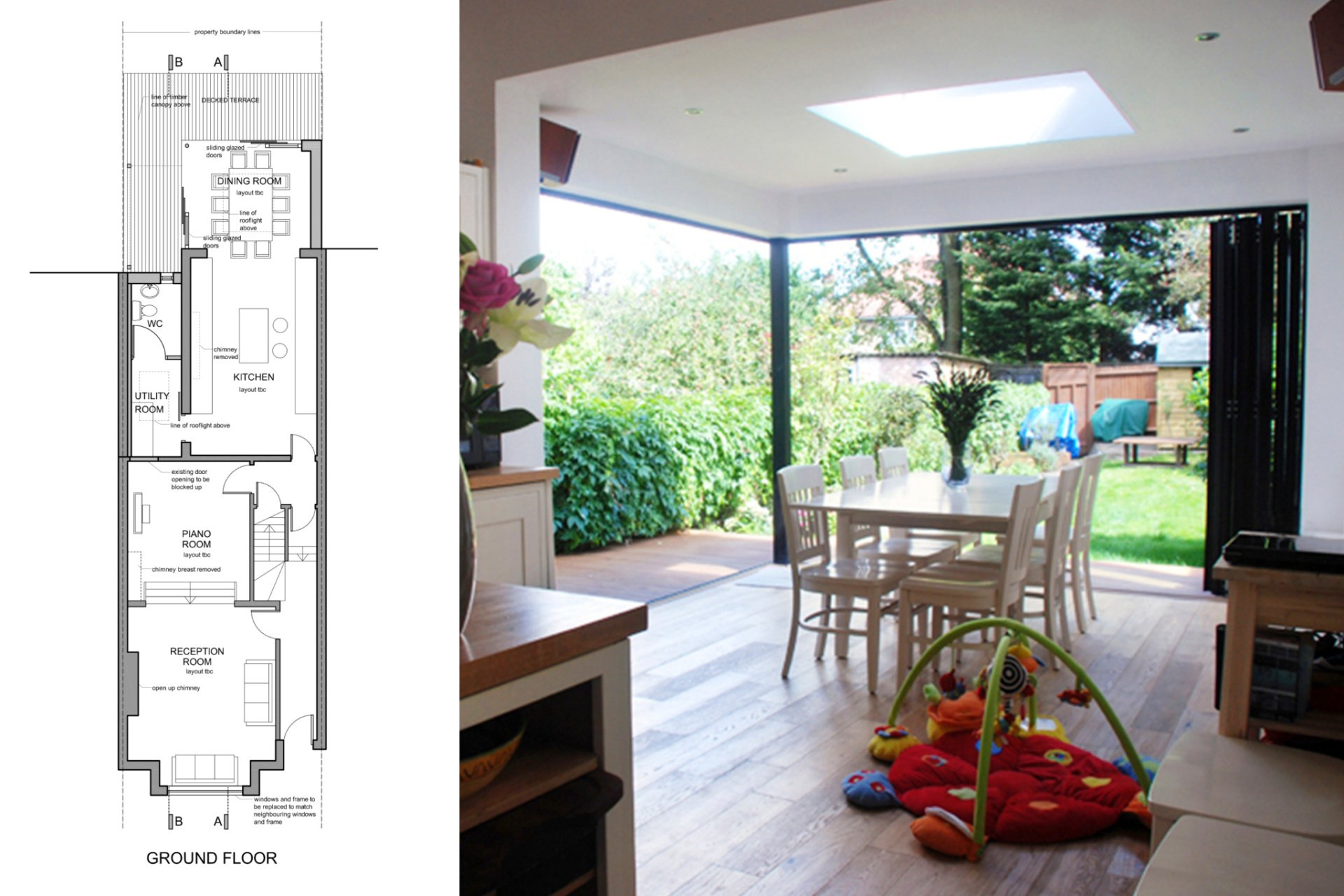 ... Architect designed house extension East Finchley Barnet N2 Ground floor plan 1200x800 East Finchley Barnet & Architect designed house extension East Finchley Barnet N2