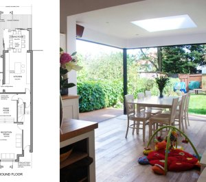 Architect designed house extension East Finchley Barnet N2 Ground floor plan 300x266 East Finchley, Barnet N2 | House extension