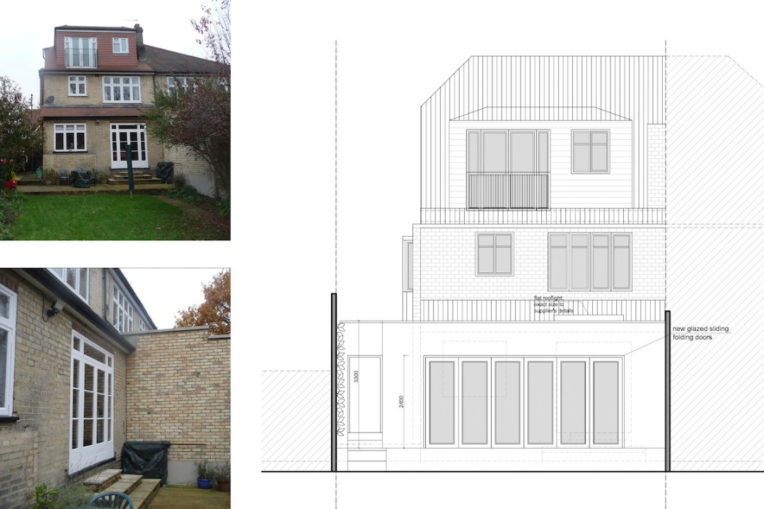 Architect designed house extension Grange Park Enfield N21 Rear elevation 1200x800 Grange Park, Enfield N21 – House extension and alterations