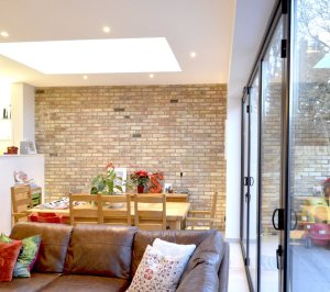 Architect designed house extension Grange Park Enfield N21 View inside out 300x266 Grange Park, Enfield N21 – House extension and alterations