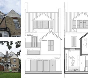 Architect designed house extension Winchmore Hill Enfield N21 Rear elevation and section 300x266 Winchmore Hill, Enfield N21 – House extension and development