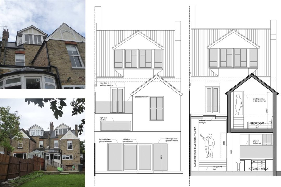 Architect designed house extension Winchmore Hill Enfield N21 Rear elevation and section Winchmore Hill, Enfield N21 – House extension and development