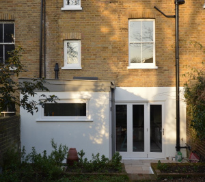Architect designed house extension with full refurbishment Lewisham SE13 View of rear elevation1 300x266 Lewisham SE13 | House extension and full refurbishment