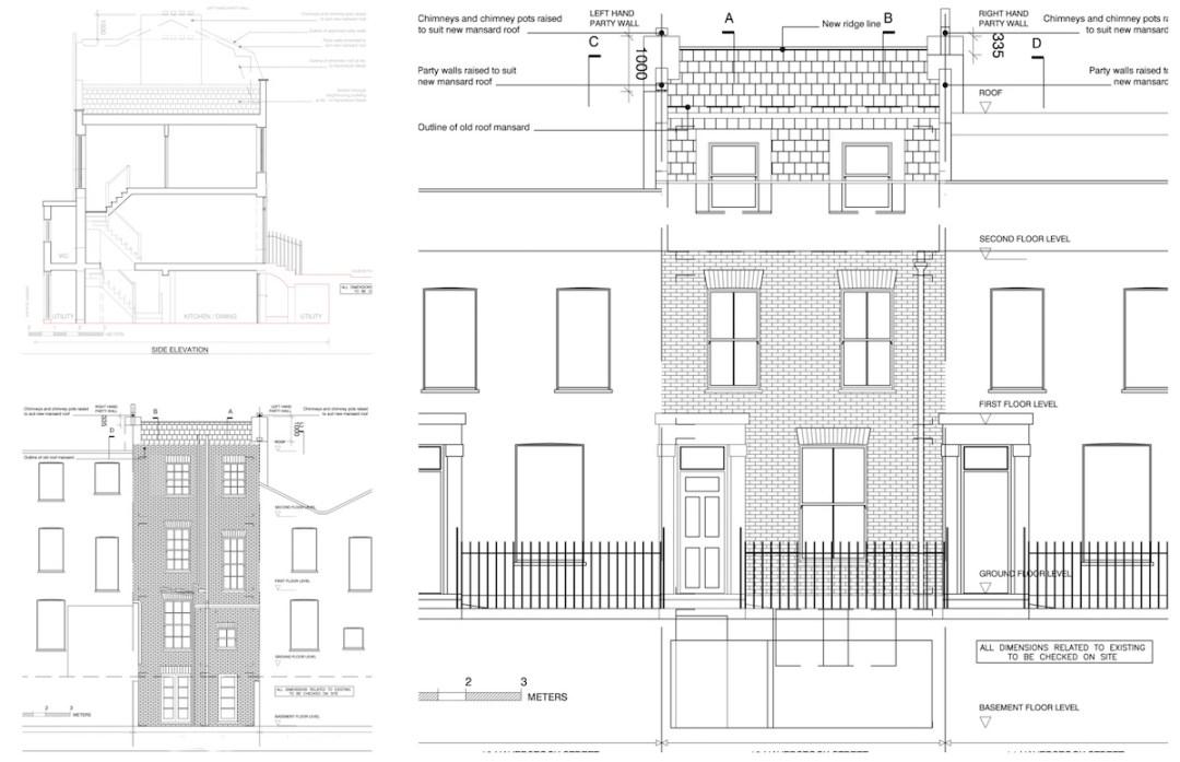 Architect designed mansard roof house extension Angel Islington N1 Design elevations 1200x774 Angel, Islington N1   Mansard roof house extension