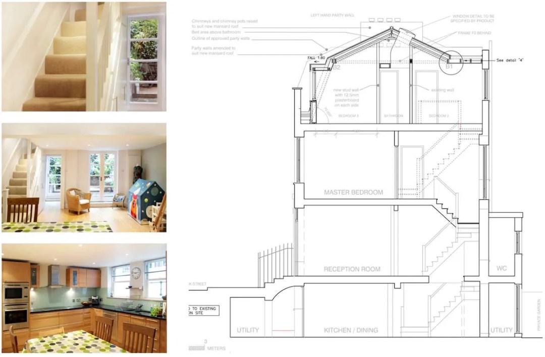Architect designed mansard roof house extension Angel Islington N1 Design section 1200x788 Angel, Islington N1 | Mansard roof house extension