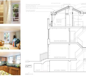 Architect designed mansard roof house extension Angel Islington N1 Design section 300x266 Angel, Islington N1 | Mansard roof house extension