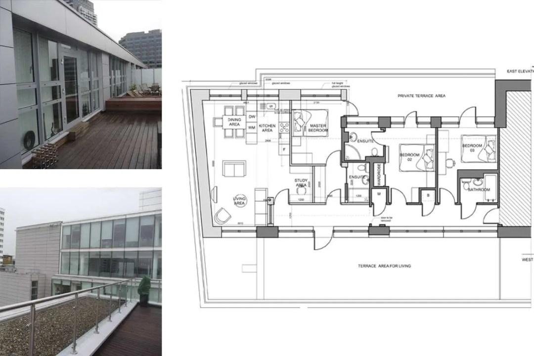 Architect designed penthouse extension Barbican Islington EC1Y Floor plan 1 1 1200x800 Barbican, Islington EC1Y | Penthouse extension