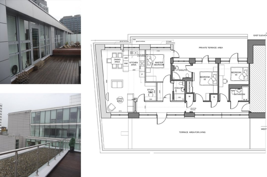 Architect designed penthouse extension Barbican Islington EC1Y Floor plan 1 1 Barbican, Islington EC1Y   Penthouse extension