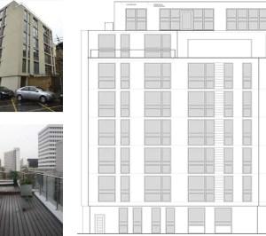 Architect designed penthouse extension Barbican Islington EC1Y West Elevation 1 1 300x266 Barbican, Islington EC1Y | Penthouse extension