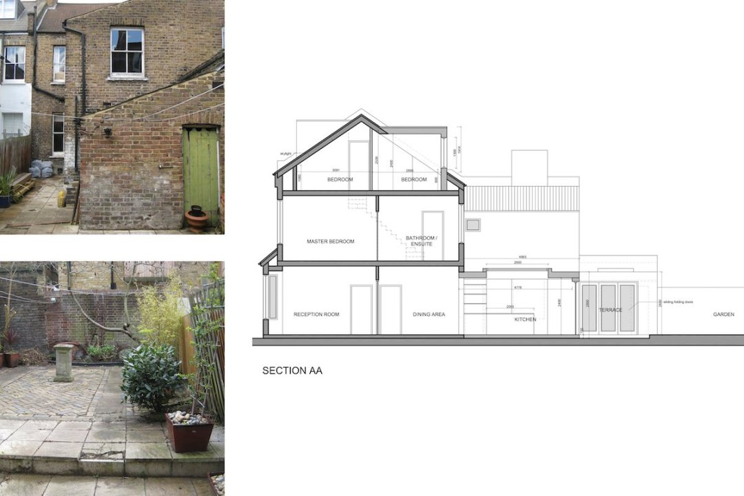 Architect designed rear house extension Herne Hill SE24 Lambeth Design section4 1200x800 Herne Hill, Lambeth SE24 | House extension