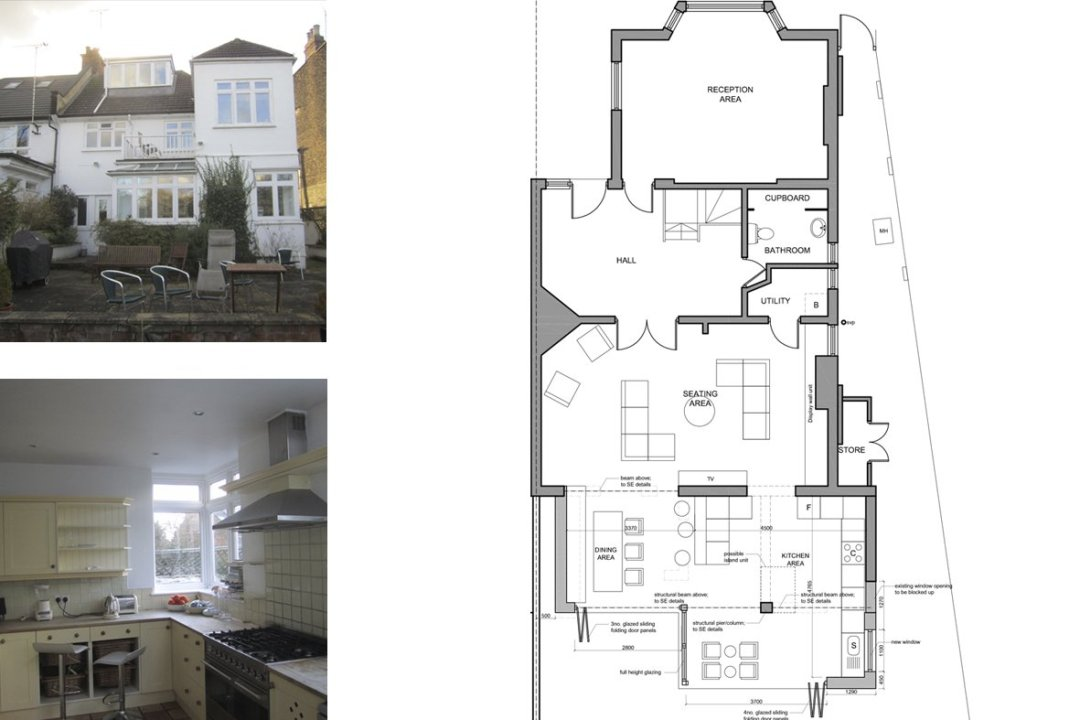 Architect designed rear house extension Muswell Hill Haringey N10 Ground plan 1200x800 Muswell Hill, Haringey N10 | Rear house extension
