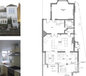 Architect designed rear house extension Muswell Hill Haringey N10 Ground plan 300x266 Muswell Hill, Haringey N10 | Rear house extension
