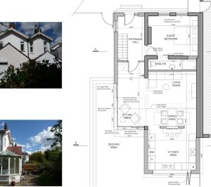 Architect designed residential extension Barnet EN5 Ground floor plan 300x266 High Barnet EN5 | Locally Listed house extension