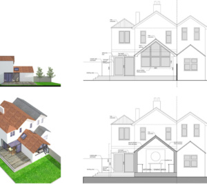 Architect designed residential extension Barnet EN5 Sections and elevations 300x266 High Barnet EN5 | Residential extension to locally listed house