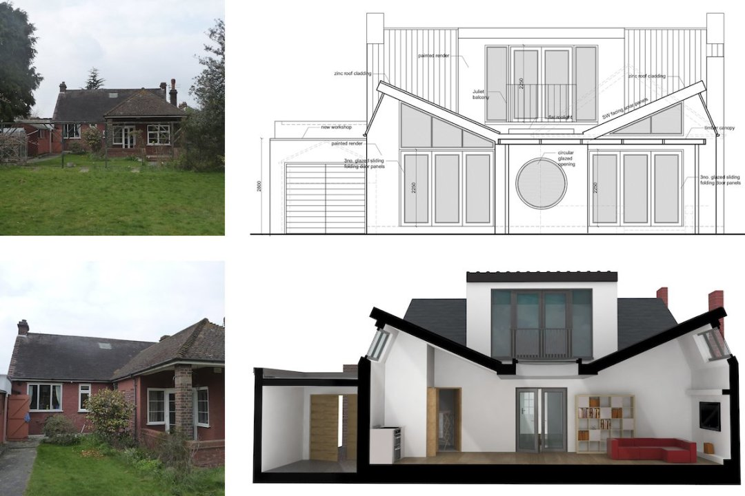 Architect designed residential extension Stoneleigh KT17 – Rear elevation and 3D section 1200x800 Stoneleigh KT17 | Extension and alterations to a bungalow